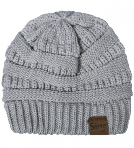 Sierry Soft Stretch Cable Knit Beanie- Warm Solid Ribbed Beanie Hats - Unisex - Light Gray - CE1890NCQDE