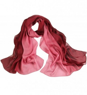 Ayli Women's Mulberry Silk Scarf Long Shawl Wrap Various Style - Purple Red Shades - C61299O7A0B