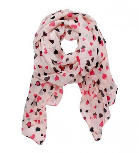 Aimery Women's Sweet Love Heart Dots Chiffon Shawl Scarf Wrap - Pink - C9125MLQ20F