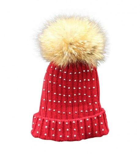 Binmer(TM) Bling Women Winter Crochet Hat Fur Knitted Wool Beanie Warm Cap - Wine Red - CC12N123SAD
