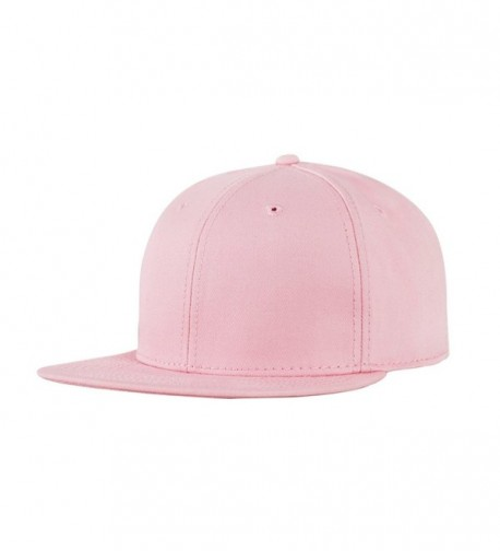 CACUSS Solid Cotton Flat Bill Brim Baseball Hat With Adjustable Snapback Hip Hop Cap - Pink - CI17YLM48HZ