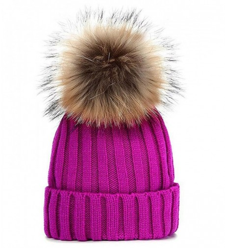 GuoMan Womens Girls Winter Fur Hat Real Large Raccoon Fur Pom Pom Beanie Winter Hats - Rose Red - CW183MUNTY4