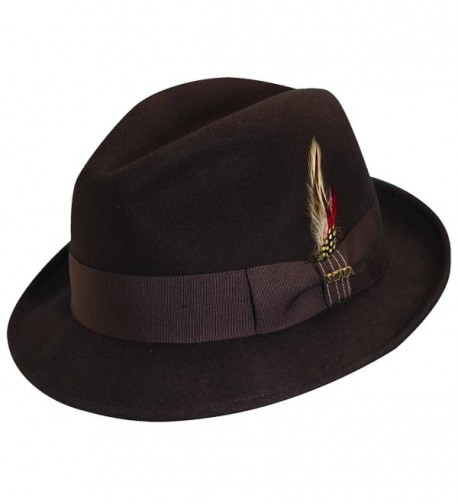 Scala Crushable Water Repellent Wool Felt Fedora Hat - Chocolate - CI11O5MUTEN