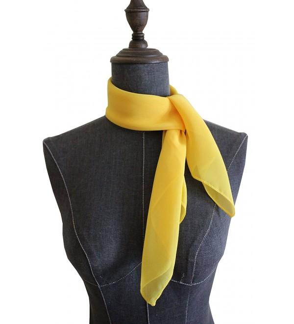 Chiffon Square Scarf Blend Neckerchief - Yellow - C912O1ZIXTW