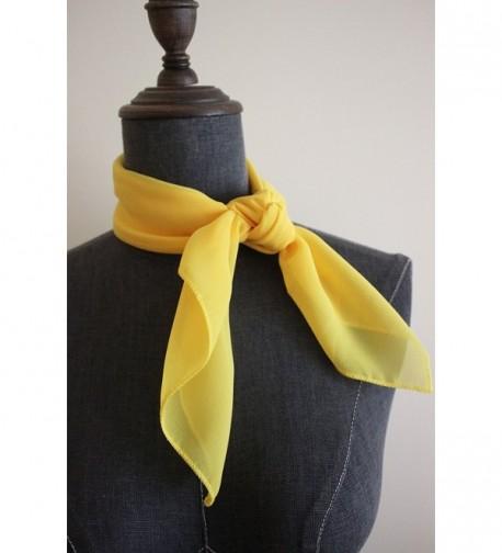 Solid Chiffon Square Neckerchief Yellow in Fashion Scarves