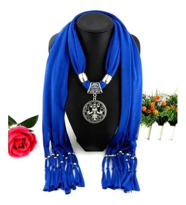 Deamyth Women Pendant Scarves Tassels Flower Rhinestone Pendent Jewelry Scarf - Blue - C612O1BEZ0Q
