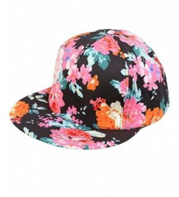 Funky Junque's Neon Color Floral Print Flat Bill Brim Snapback Hat Baseball Cap - Black - CA12EF5S4AJ