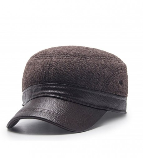 Scott Edward Warm Winter Cap Dome Hat Baseball Cap With Ear Flaps For Men - Coffee - CF187LIHHOY