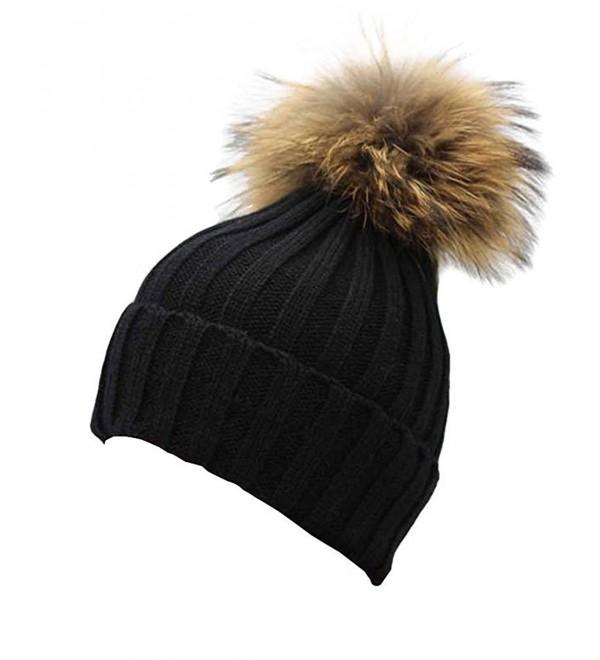 923e9fcb1 Women Winter Real Fur Pom Pom Knit Slouchy Beanie Hat for Men Girls Boys  Black CQ128I32SON