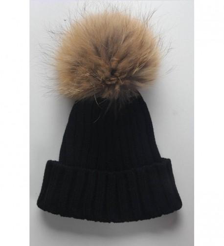 7792ddbcd Women Winter Real Fur Pom Pom Knit Slouchy Beanie Hat for Men Girls Boys  Black CQ128I32SON