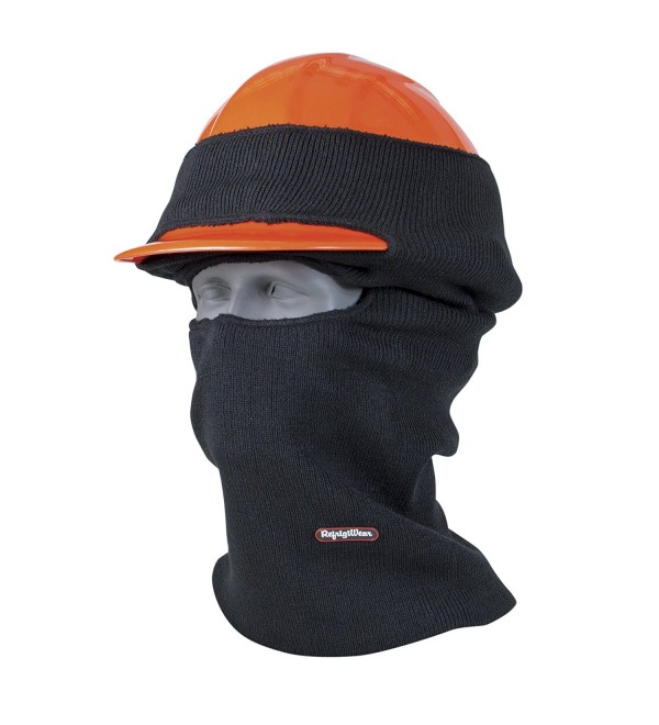 RefrigiWear Double Layer Long Neck Industrial Hard Hat Balaclava Face Mask - Black - C211O3Z4RRR
