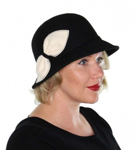 Myra Wool Bucket Hat with Bow Vintage Cloche Flapper Tea Party Derby Church - Black - CS12MA54UDG