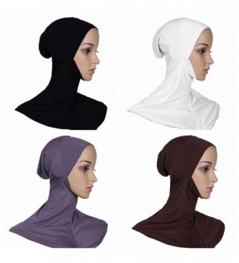 Ksweet 4 x Full Cover Islamic Scarf Women Hijab Cap Ninja Bonnet Underscarves - Black+Grey+Light brown+White - CT12EHVUGHB