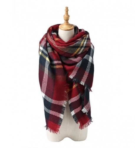 Spring Fever Womens Cute Winter Thick Warm Long Lamb Velvet Hooded Scarf Soft - E Dark Red - CX1860D8M8U
