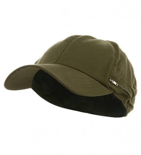 Zippered Flap Caps - Olive - C8111C691P3