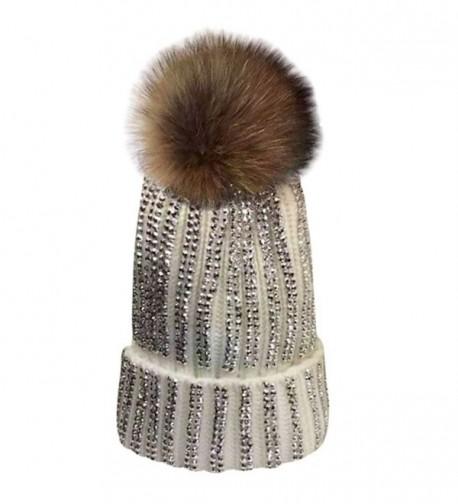 MIOIM Womens Girls Raccoon fur Big Pom Pom Beanie Diamante Knitted Bobble Hat - White - CA188L0G5ZK