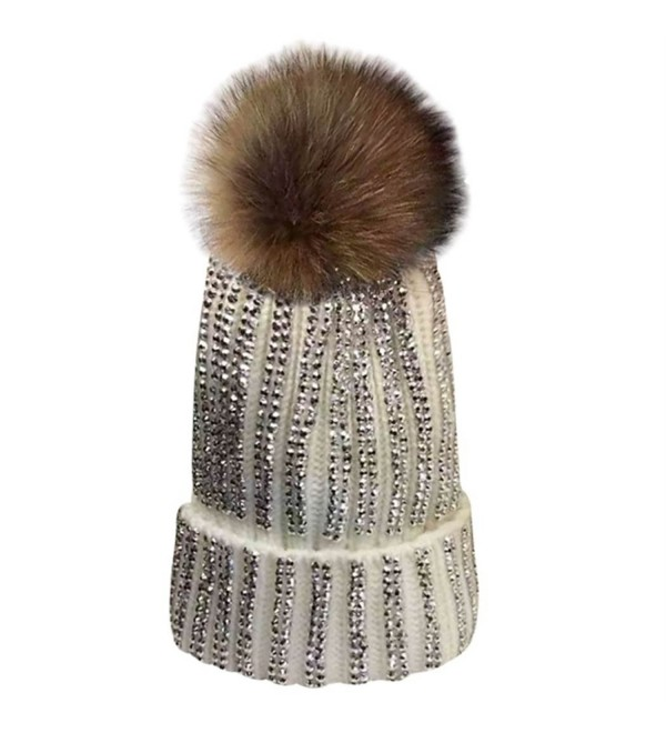 4c663cfbd8a MIOIM Womens Girls Raccoon fur Big Pom Pom Beanie Diamante Knitted Bobble  Hat - White -