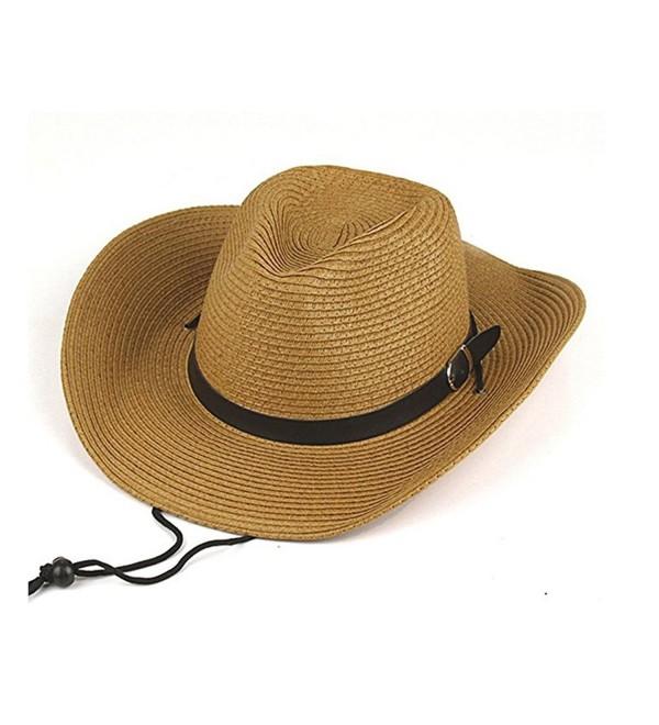 Opromo Adults Kids Cowboy Straw Hat Wide Brim Hat Summer Beach Sun Cap Foldable - Khaki - C4184YRTGE2