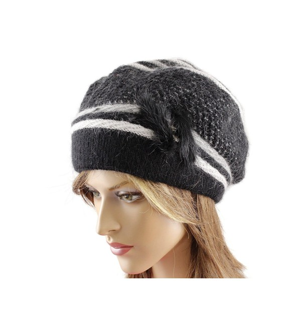 LA-EL COUTURE Womens Elegant Knitted decorated with some natural fur and rhinestones Hat warm - Black - C712CNXEVQR