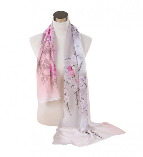 Reversible China Rose Chiffon Voile Lady Shawl Women Scarf for Clothes Decorating - White2 - CZ120TW3PN9