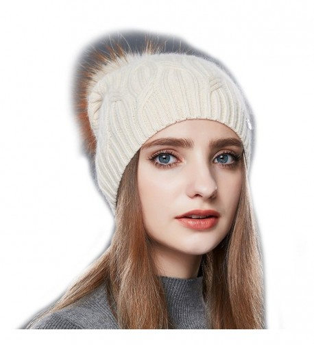 URSFUR Wool Knit Slouchy Bobble Cap Unisex Winter Beanie Hat with Fur Ball Pom - Beige - CC1867X9OLK