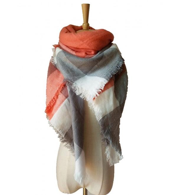 YCHY Women's Super Soft Large Tartan Fashion Scarf Best Gift Wrap Party Shawl - Orange Grey - CZ12N37KCHU