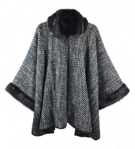 Bruceriver Women Luxury Faux Fur Poncho Topper Cloak Coat Sweater Cap Wraps - Col.1-black - CM188O63QSA