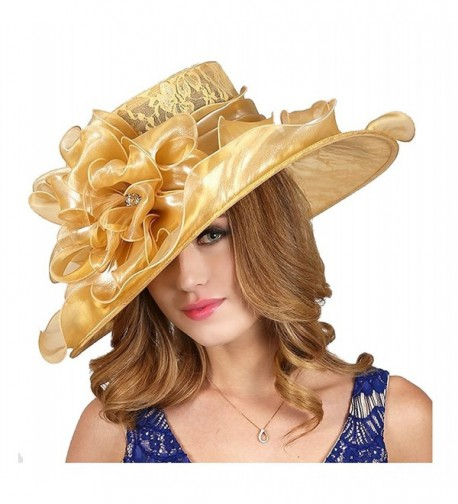 Ginga's Galleria Kentucky Derby Gold Lace Organza Hat With Stone - CW189A4CWNX
