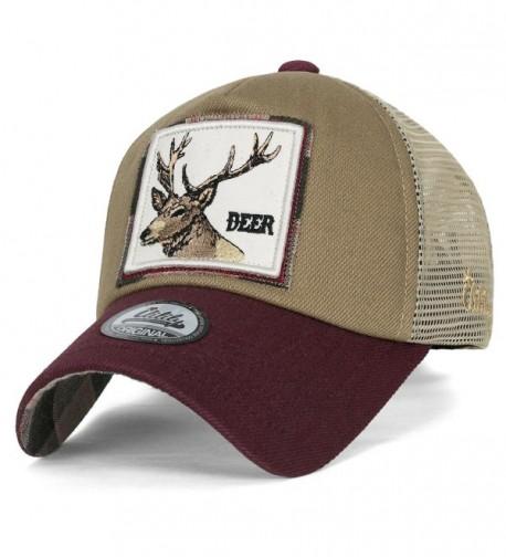 ililily Wolf Deer Animal Square Patch Casual Mesh Baseball Cap Trucker Hat - Burgundy - C81825CTCK5