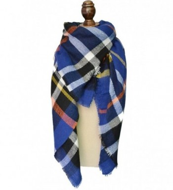 Fashion Women's Winter Soft Plaid Scarf- Large Blanket Wrap Shawl Wrap - Blue - CP12NEQMRH7
