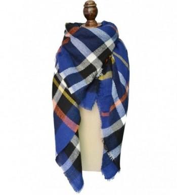 Fashion Women's Winter Soft Plaid Scarf- Large Blanket Wrap Shawl Wrap - Blue - CP12NEQMRH7