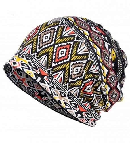 Qiabao Women's Printed Slouchy Chemo Beanie Cap Hat for Cancer Patients - Coffee - CT182DSTHDZ