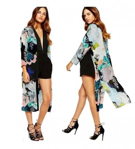 Creazy Women Boho Printed Chiffon Shawl Long Kimono Cardigan Tops Cover up Blouse - C912F9NIMGN