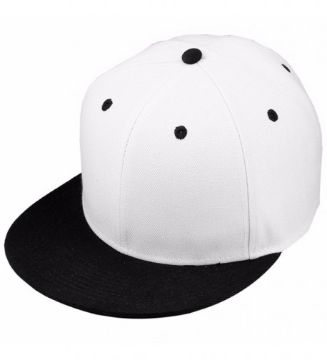 Samtree Unisex Snapback Hats-Patchwork Solid Color Flat Bill Baseball Cap - 015-white+black - C1183GRLLEE