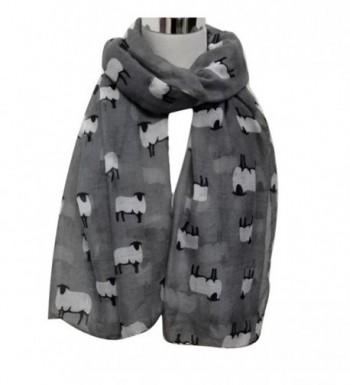 Women Fashion Cute Sheep Print Scarf Long Soft Scarf Wrap Shawl Stole Scarves - Gray - C1129SSUX0X