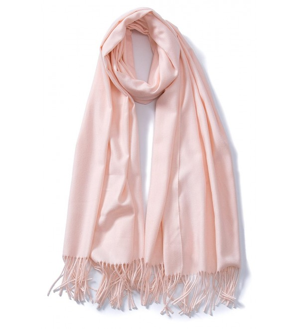Cindy & Wendy Large Soft Cashmere Feel Pashmina Solid Shawl Wrap Scarf for Women - Baby Pink - CE188HO8NO2