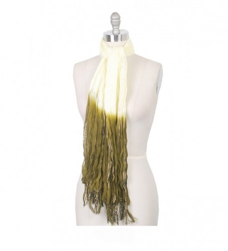 Amtal Women Two Color Tie & Dye Lurex Ombre Oblong Soft Casual Scarf w/ Tassels - White - CQ12O45ODE6
