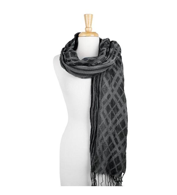 Feiramode Combination Plaid & Stripe Long Scarf with Fringe - Black - C5186RR95RK