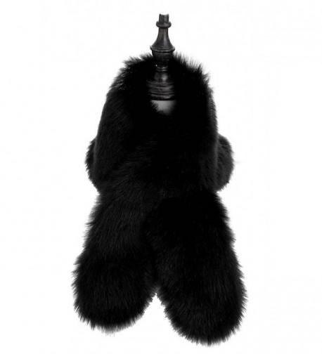Changuan Women's Winter Fake Faux Fur Scarf Wrap Collar Shawl Shrug - Black - CG186SYNLCR