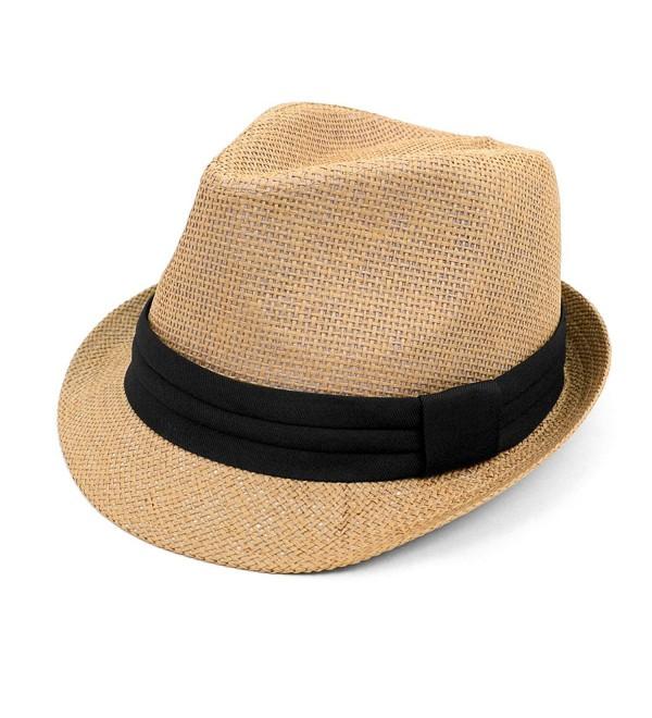 Classic Style Fashion Fedora with Black Band - Camel - CU17YHO2U4U