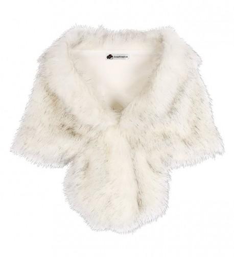 KOERIM Women's Faux Fur Shawl Bridal Wedding Shrug Wrap Evening Party Fur Stole - Rabbit Fur Gray - C8189CRNEI9