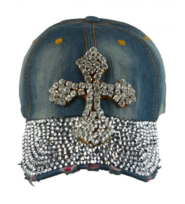 Woman Vintage Look Baseball W/Rhinestones Hat Printing snapback Cap Denim Blue - Cross2 - CN124IHHCI5