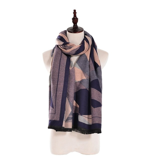 Scarfs for Women-Warm Square Scraves Wraps Shawls with Oil Painting Color Print - Purple - C4188E45OST