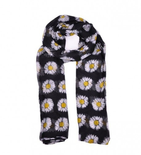 GBSELL Lady Womens Long Cute Daisy Flower Print Scarf Wraps Shawl Soft Scarves - Black - CB129UPW6BD