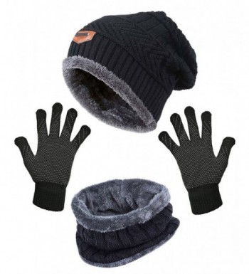 HindaWi Slouchy Infinity Scarves Mittens - _Hat + Scarf + Gloves (Black) - CB189T40SQ3