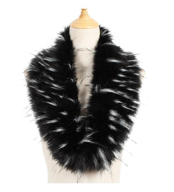 Yetagoo Faux Fur Collar Women's Neck Warmer Scarf Wrap Gatsby 1920s Shawl Accessories - Black/White - C7187K023T0