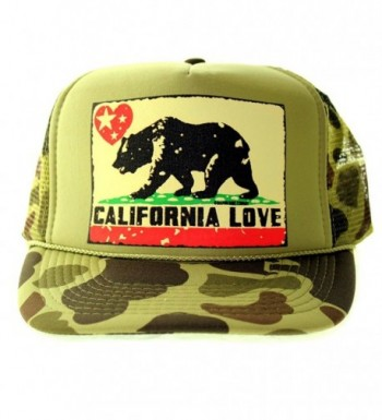 California Love Flag Snapback Mesh Truckers Cap - Camo One Size Fits Most - C611JHI25AZ