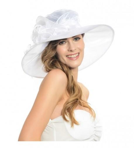 Women Kentucky Derby Horse Racing Plume Satin Wide Brim Formal Hat Sd035 (White) - White - CV11NDBBTR3