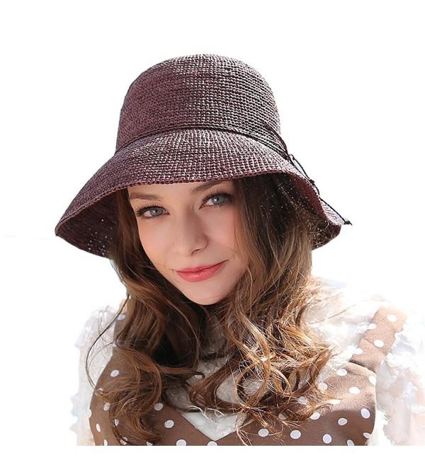 RIONA Women's Summer Hand-Woven Foldable Wide Brim Fisherman 100% Raffia Straw Sun Hat - Coffee - CS183RDGQL0
