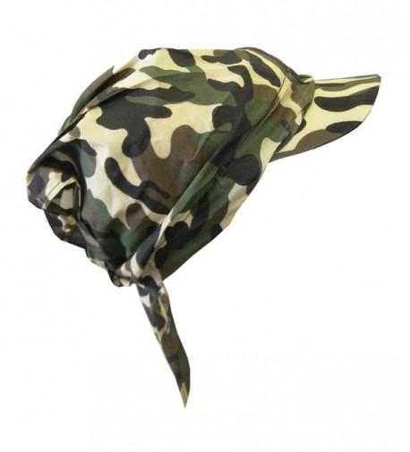 Camouflage Bandana Cap Visor Tie Unisex Army Hat - Tan - CW11MJ8IV59